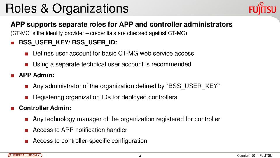 "recommended APP Admin: Any administrator of the organization defined by ""BSS_USER_KEY Registering organization IDs for deployed controllers"