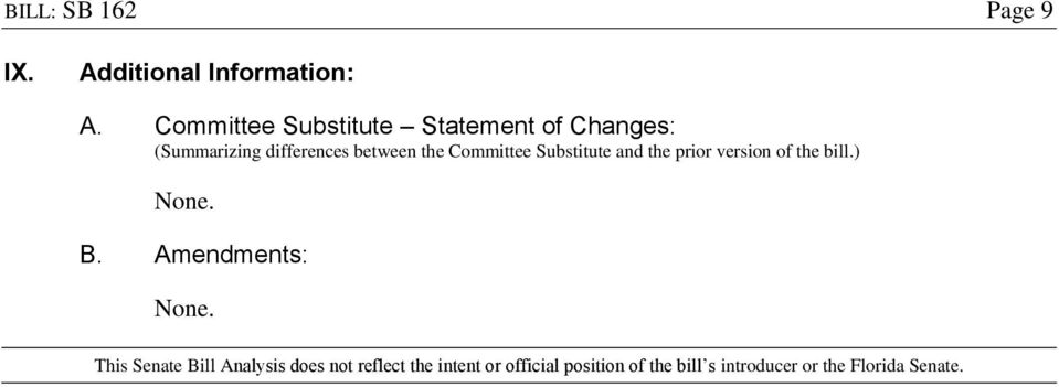 Committee Substitute and the prior version of the bill.) B.