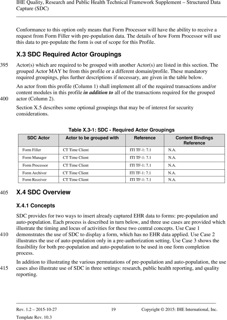 3 SDC Required Actor Groupings 395 400 Actor(s) which are required to be grouped with another Actor(s) are listed in this section.
