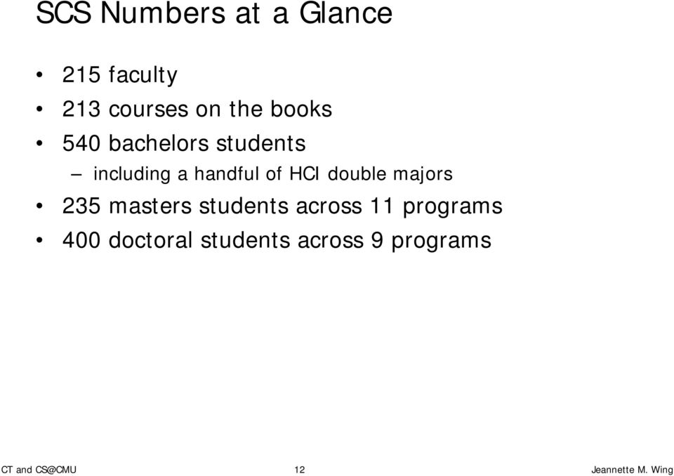 handful of HCI double majors 235 masters students