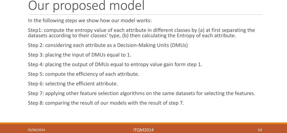 Step 2: considering each attribute as a Decision-Making Units (DMUs) Step 3: placing the input of DMUs equal to 1.
