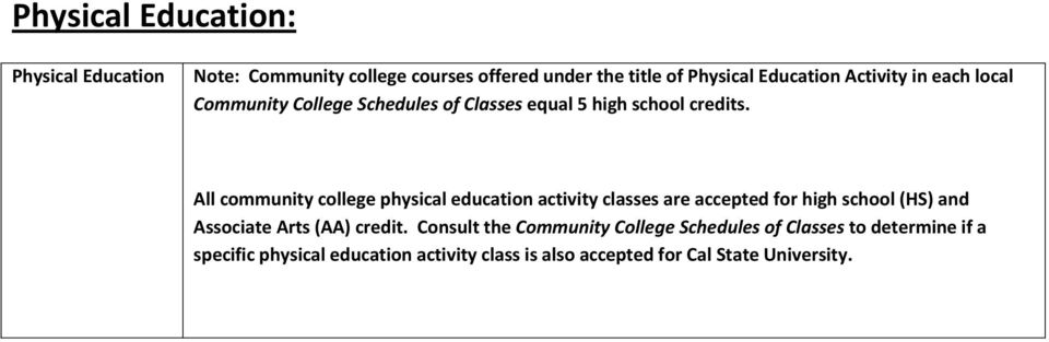 All community college physical education activity classes are accepted for high school (HS) and Associate Arts (AA)