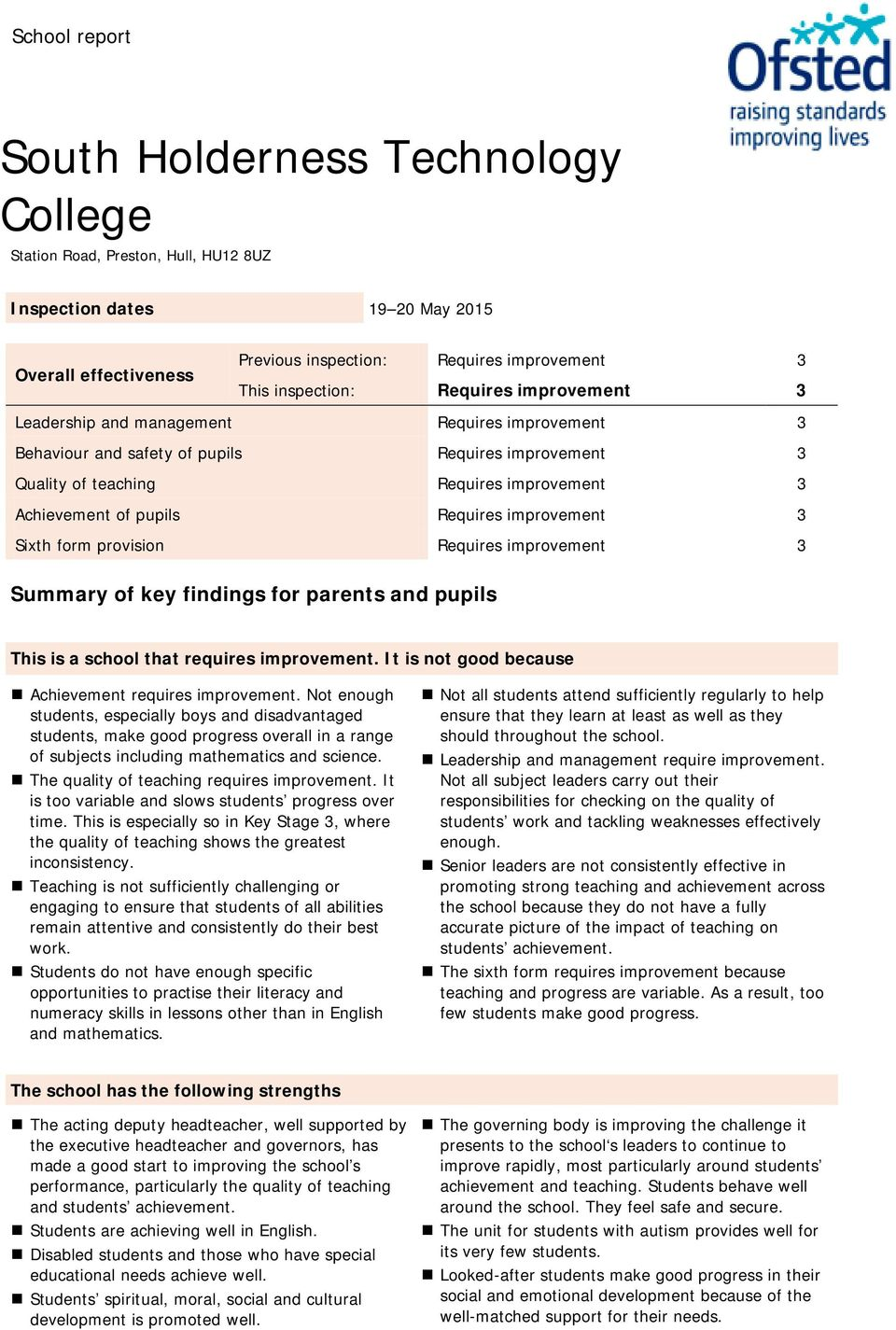 pupils Requires improvement 3 Sixth form provision Requires improvement 3 Summary of key findings for parents and pupils This is a school that requires improvement.