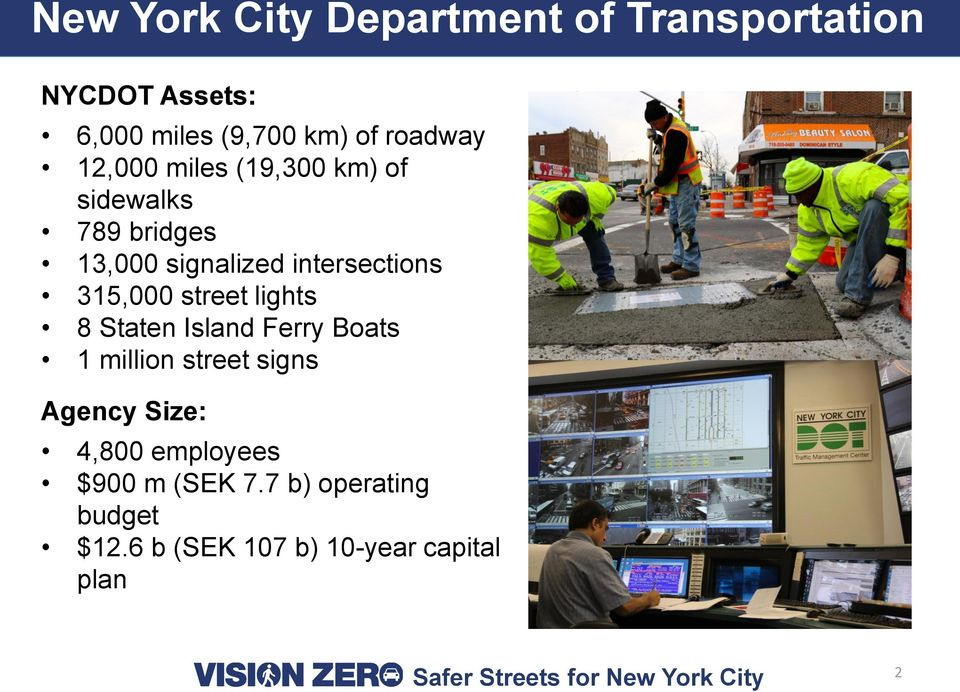 intersections 315,000 street lights 8 Staten Island Ferry Boats 1 million street signs