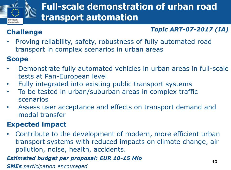 in complex traffic scenarios Assess user acceptance and effects on transport demand and modal transfer Expected impact Contribute to the development of modern, more efficient urban