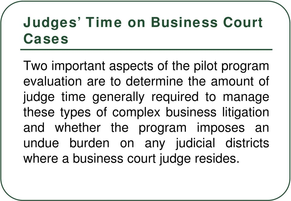 manage these types of complex business litigation and whether the program