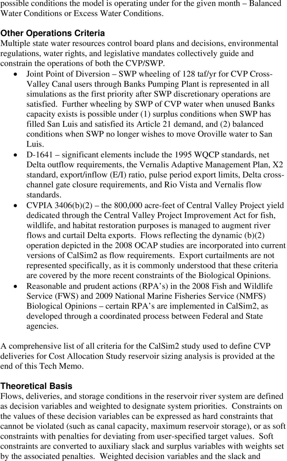 operations of both the CVP/SWP.