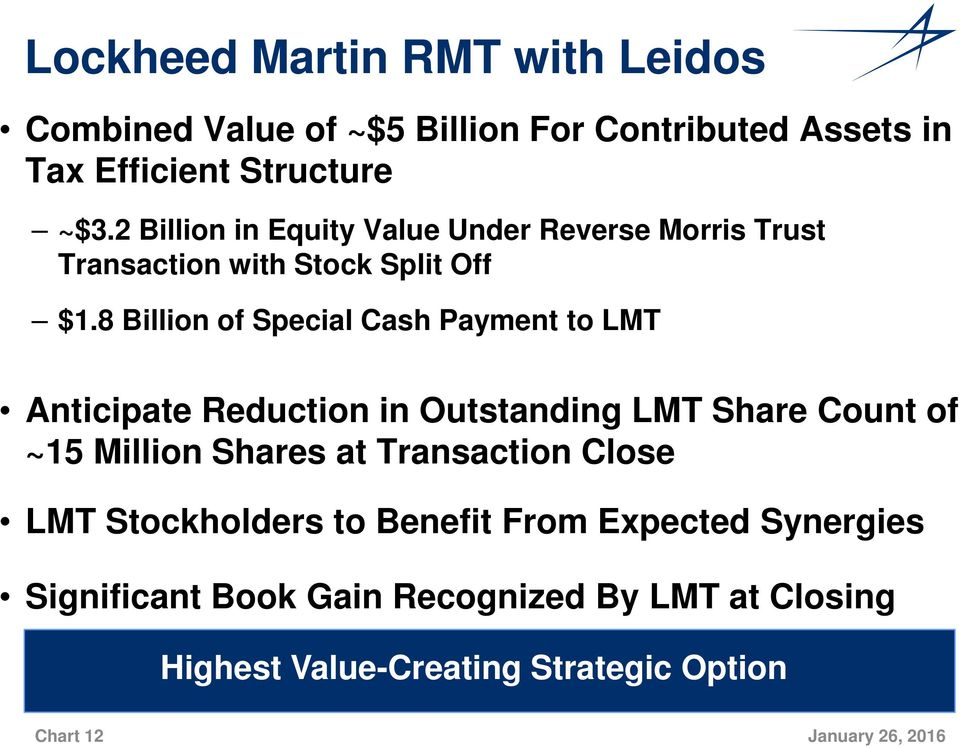 8 Billion of Special Cash Payment to LMT Anticipate Reduction in Outstanding LMT Share Count of ~15 Million Shares at