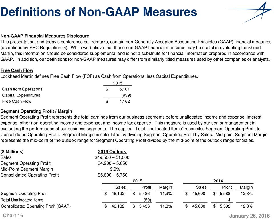 While we believe that these non-gaap financial measures may be useful in evaluating Lockheed Martin, this information should be considered supplemental and is not a substitute for financial