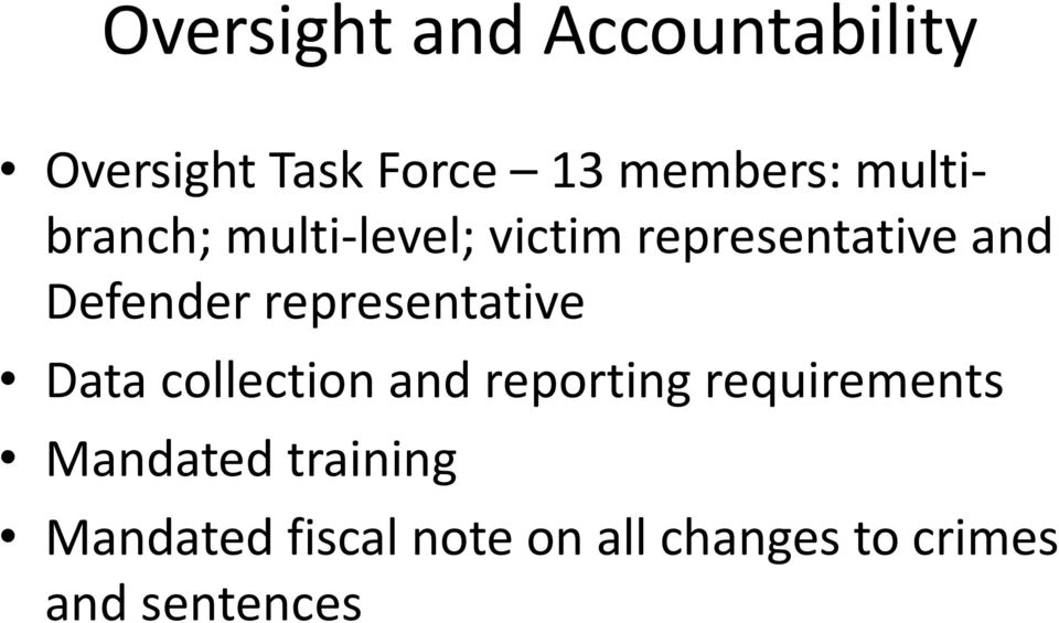 representative Data collection and reporting requirements