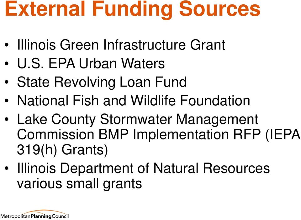 EPA Urban Waters State Revolving Loan Fund National Fish and Wildlife