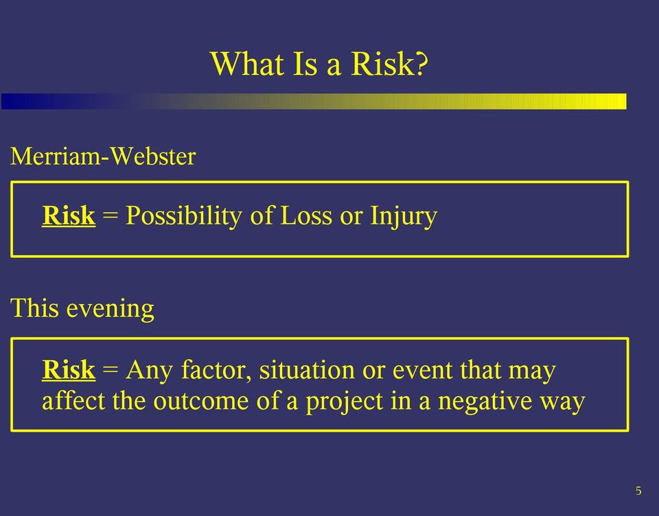 or Injury This evening Risk = Any factor,