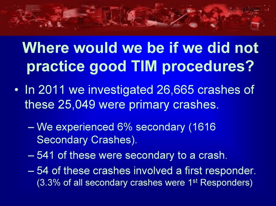 We experienced 6% secondary (1616 Secondary Crashes).