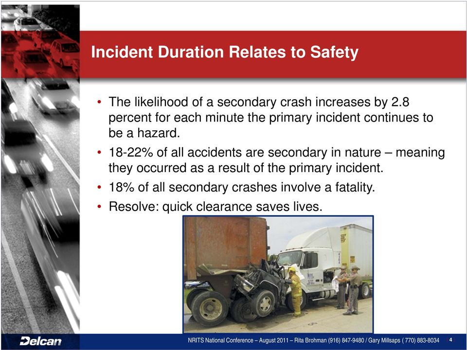 18-22% of all accidents are secondary in nature meaning they occurred as a result of the primary incident.