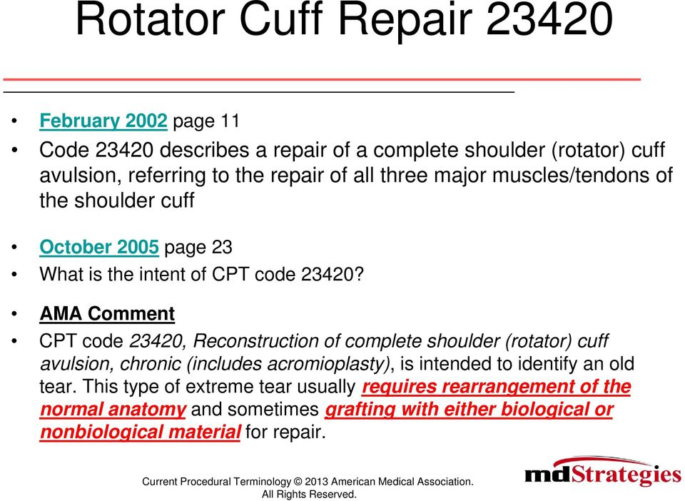 AMA Comment CPT code 23420, Reconstruction of complete shoulder (rotator) cuff avulsion, chronic (includes acromioplasty), is intended to identify