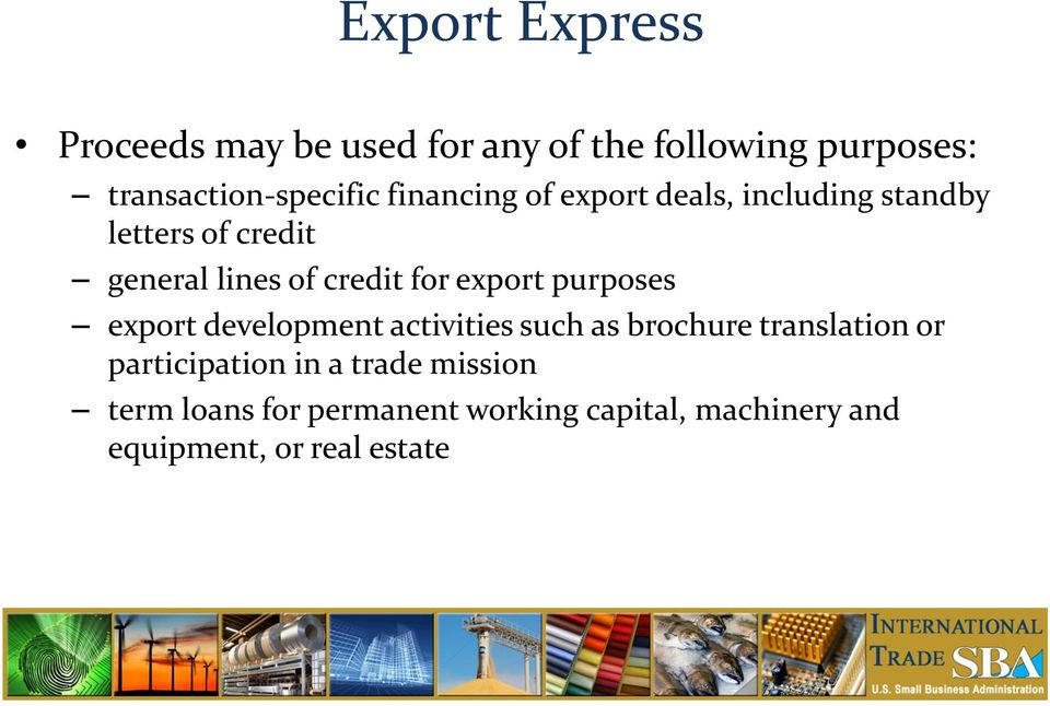 export purposes export development activities such as brochure translation or participation