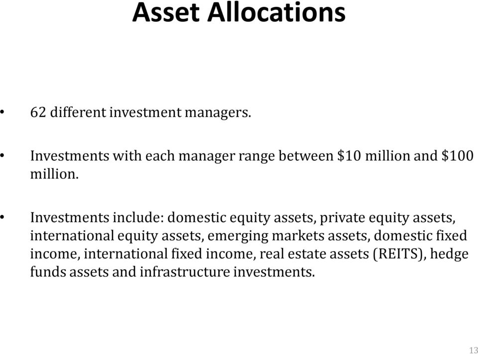 Investments include: domestic equity assets, private equity assets, international equity