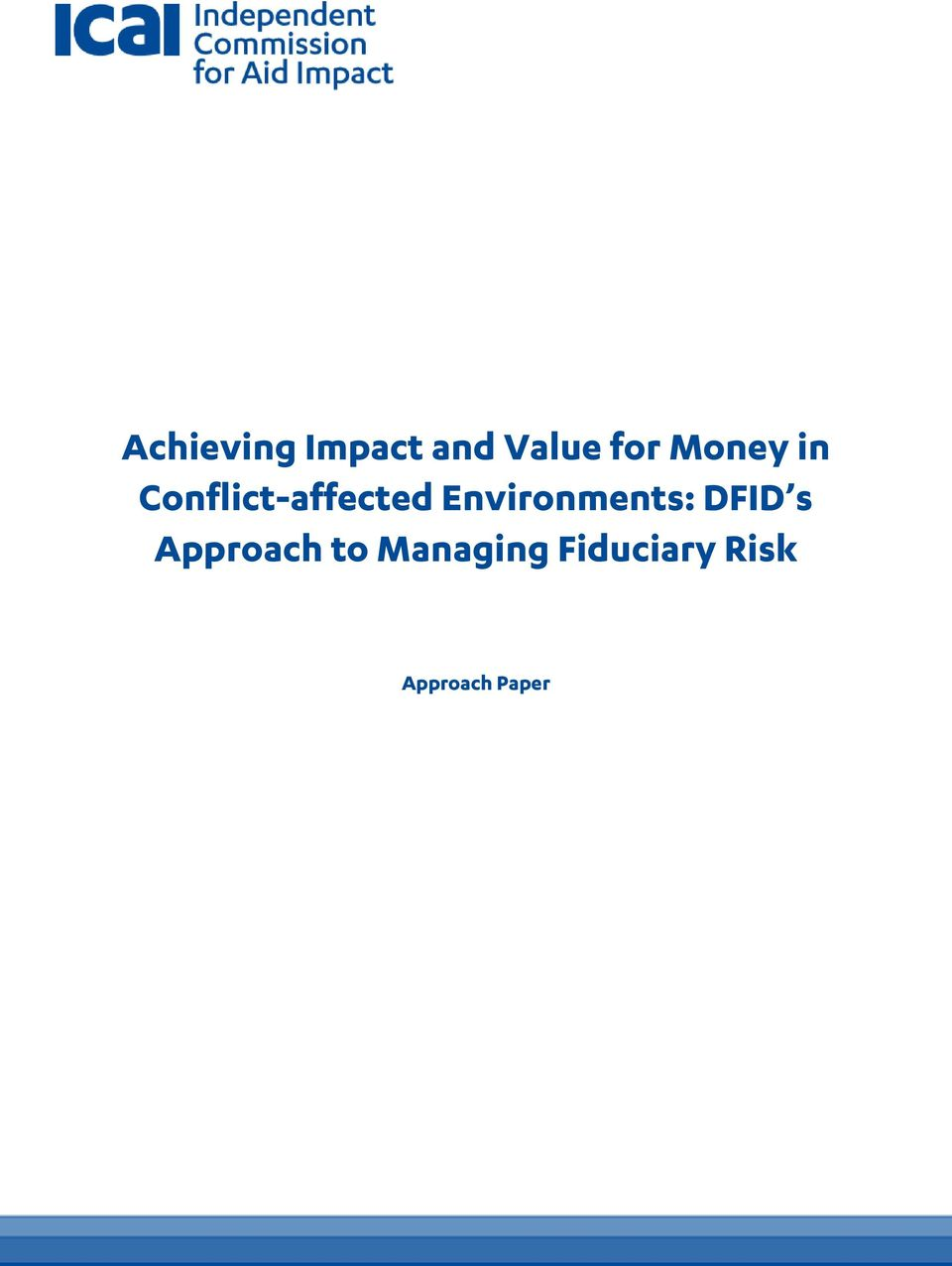 Environments: DFID s Approach to