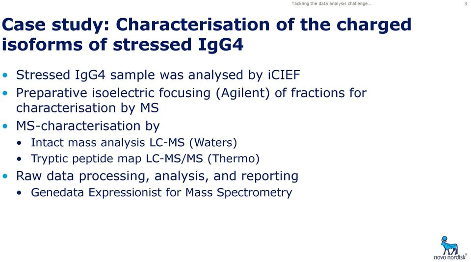 for characterisation by MS MS-characterisation by Intact mass analysis LC-MS (Waters) Tryptic peptide map