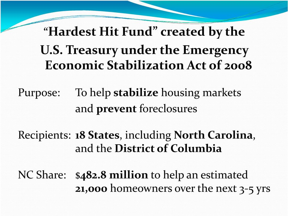 stabilize housing markets and prevent foreclosures Recipients: 18 States, including