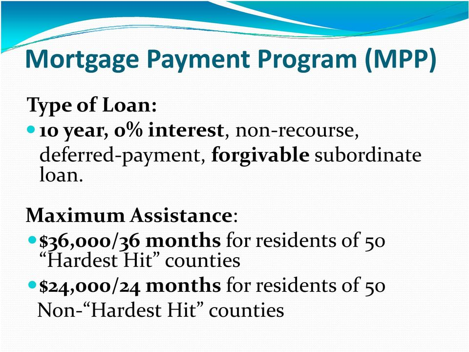 Maximum Assistance: $36,000/36 months for residents of 50 Hardest Hit