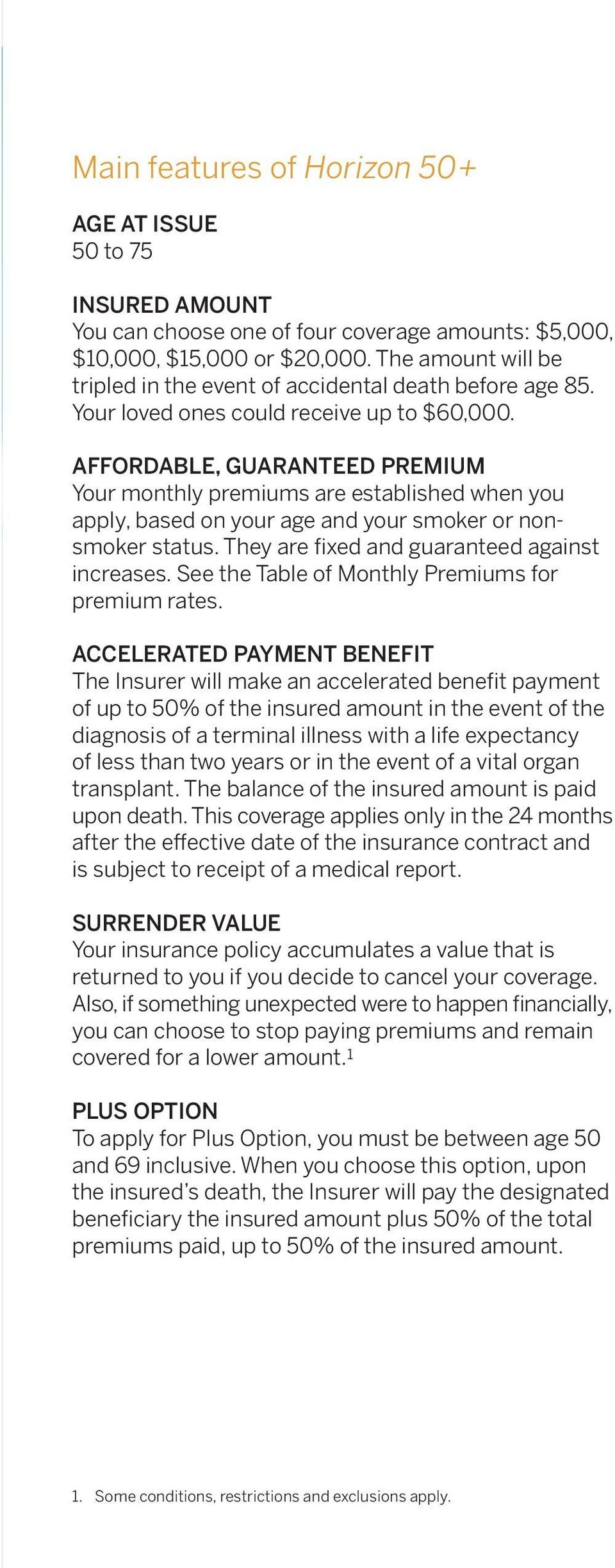 Affordable, guaranteed premium Your monthly premiums are established when you apply, based on your age and your smoker or nonsmoker status. They are fixed and guaranteed against increases.