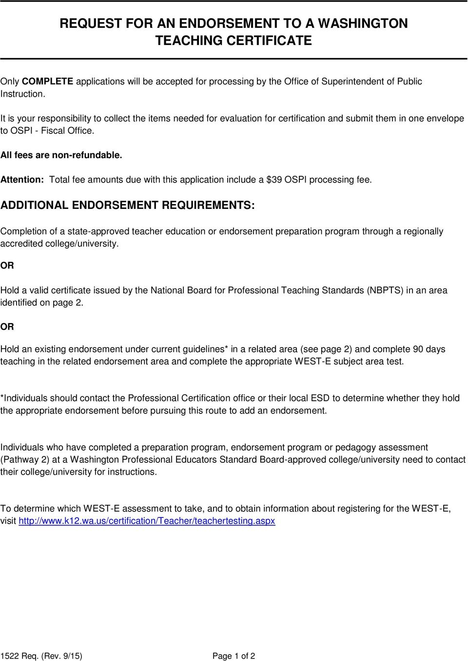 Request For An Endorsement To A Washington Teaching Certificate Pdf