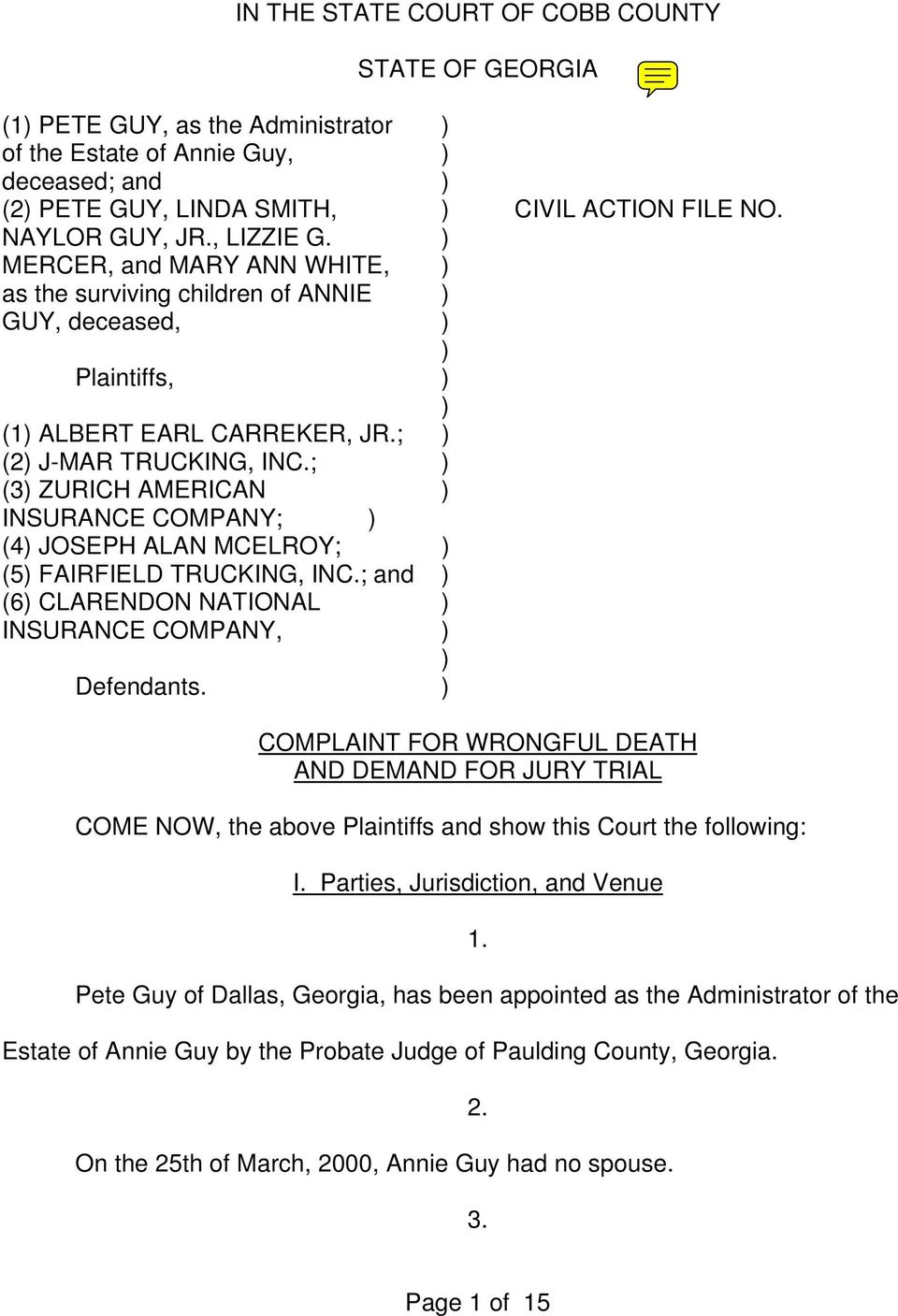 IN THE STATE COURT OF COBB COUNTY STATE OF GEORGIA - PDF