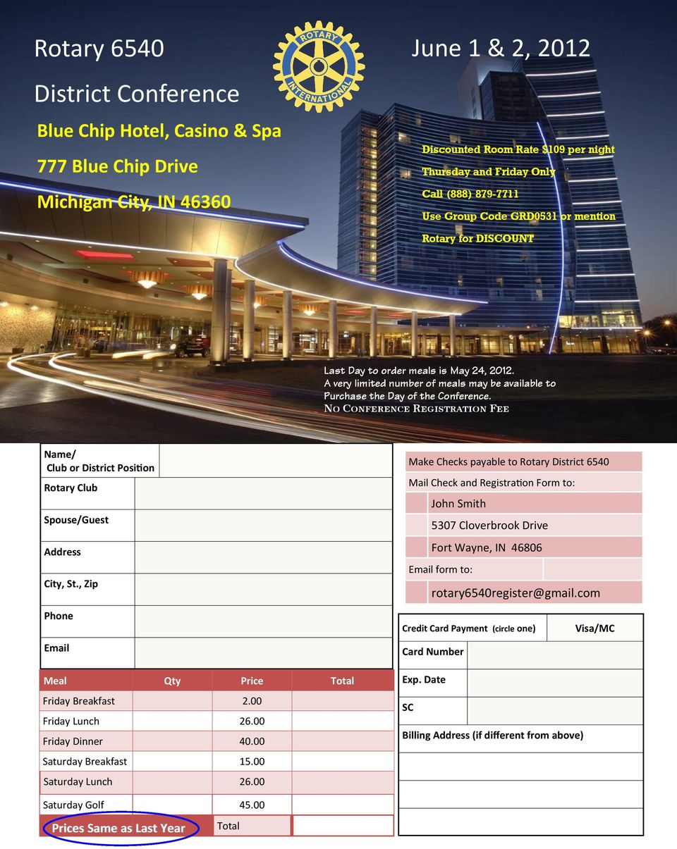 No Conference Registration Fee Name/ Club or District Position Rotary Club Spouse/Guest Address City, St.