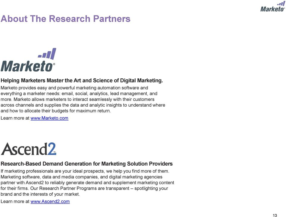 Marketo allows marketers to interact seamlessly with their customers across channels and supplies the data and analytic insights to understand where and how to allocate their budgets for maximum