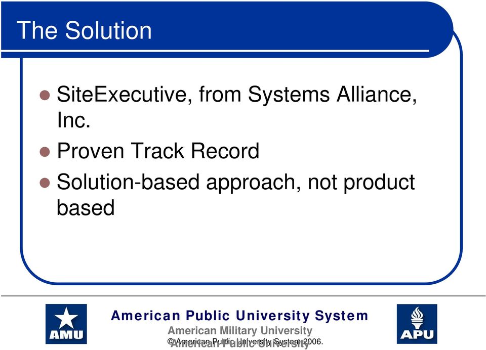 Proven Track Record Solution-based