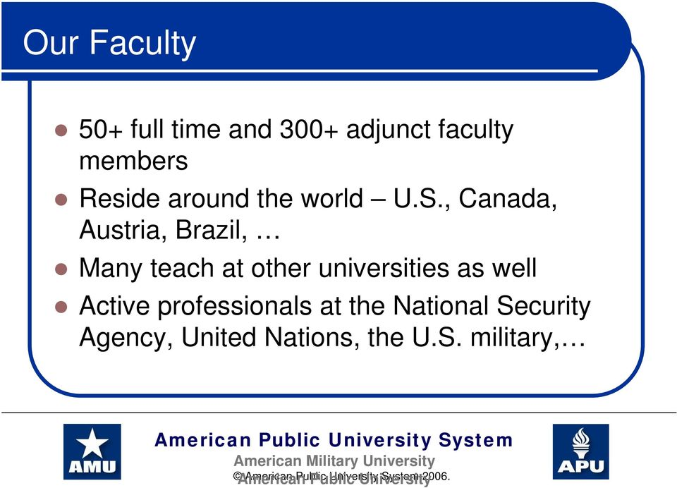 , Canada, Austria, Brazil, Many teach at other universities as