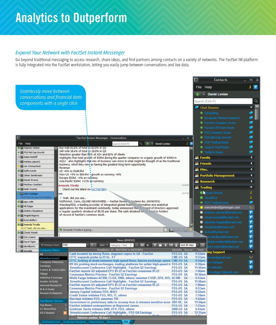 The FactSet IM platform is fully integrated into the FactSet workstation, letting you easily jump between