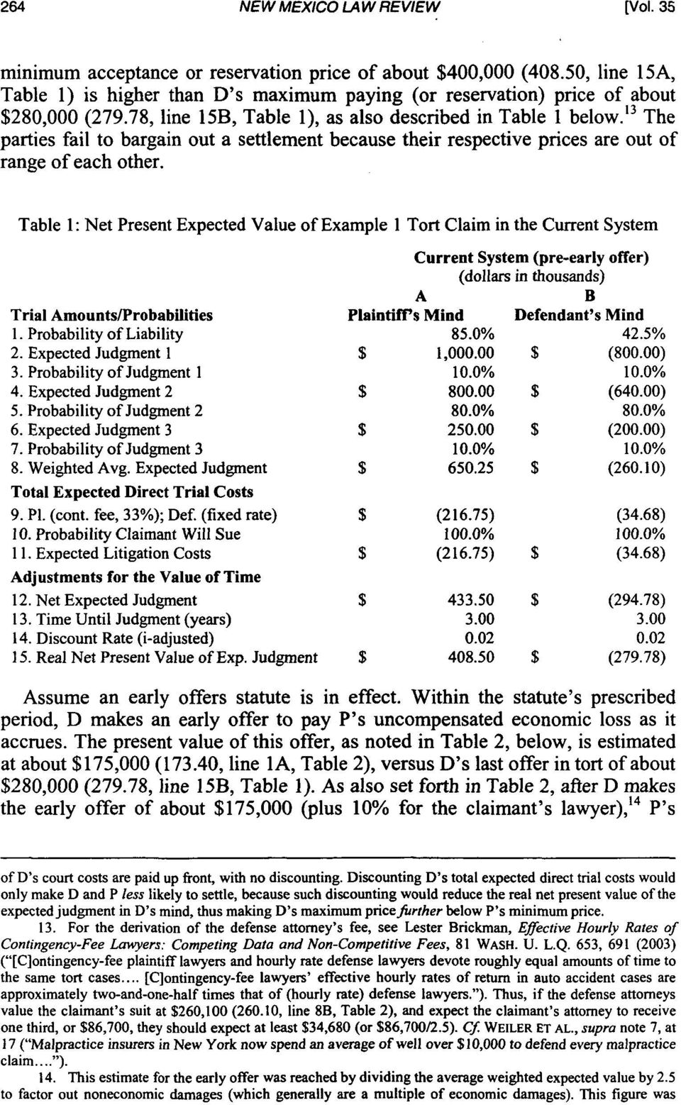 Table 1: Net Present Expected Value of Example 1 Tort Claim in the Current System Trial Amounts/Probabilities 1. Probability of Liability 2. Expected Judgment 1 3. Probability of Judgment 1 4.