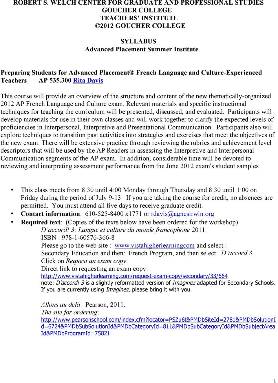 French Language and Culture-Experienced Teachers AP 535.