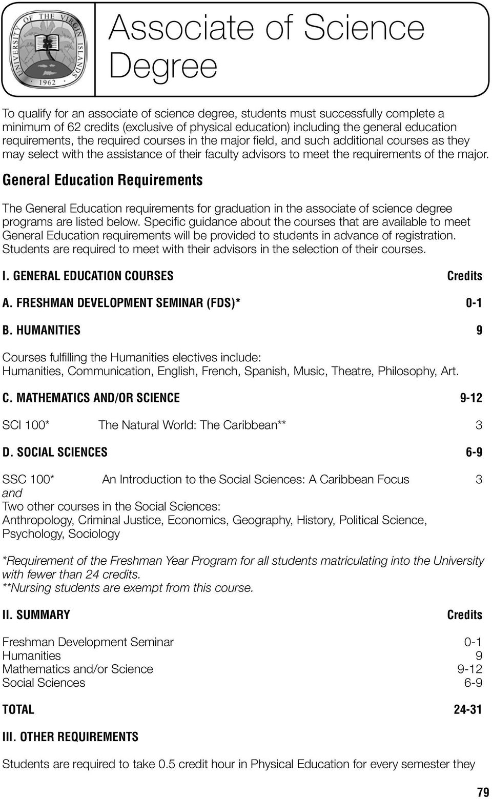 General Education Requirements Associate of Science Degree The General Education requirements for graduation in the associate of science degree programs are listed below.