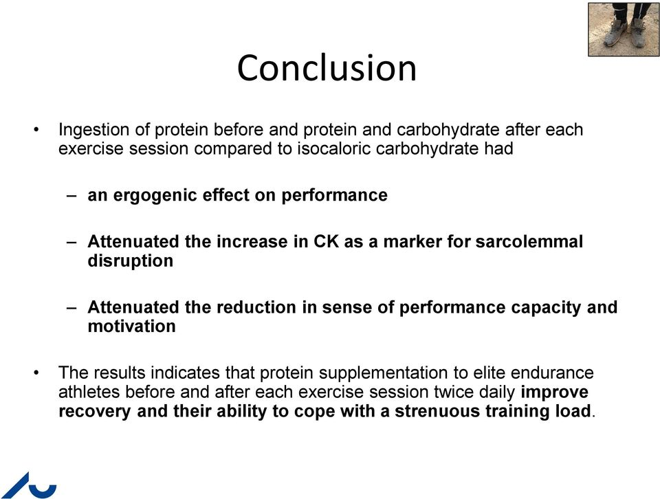 Attenuated the reduction in sense of performance capacity and motivation The results indicates that protein supplementation to