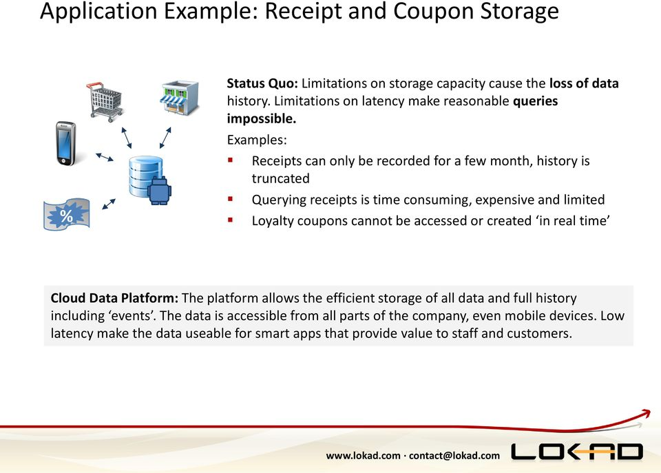 Examples: Receipts can only be recorded for a few month, history is truncated Querying receipts is time consuming, expensive and limited Loyalty coupons cannot be