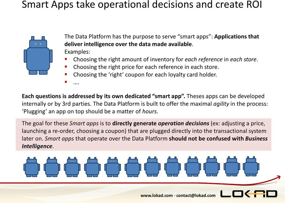 . Each questions is addressed by its own dedicated smart app. Theses apps can be developed internally or by 3rd parties.