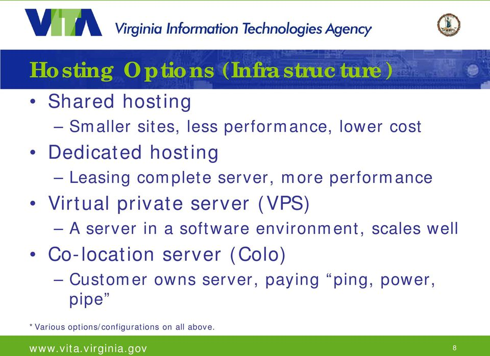 (VPS) A server in a software environment, scales well Co-location server (Colo)