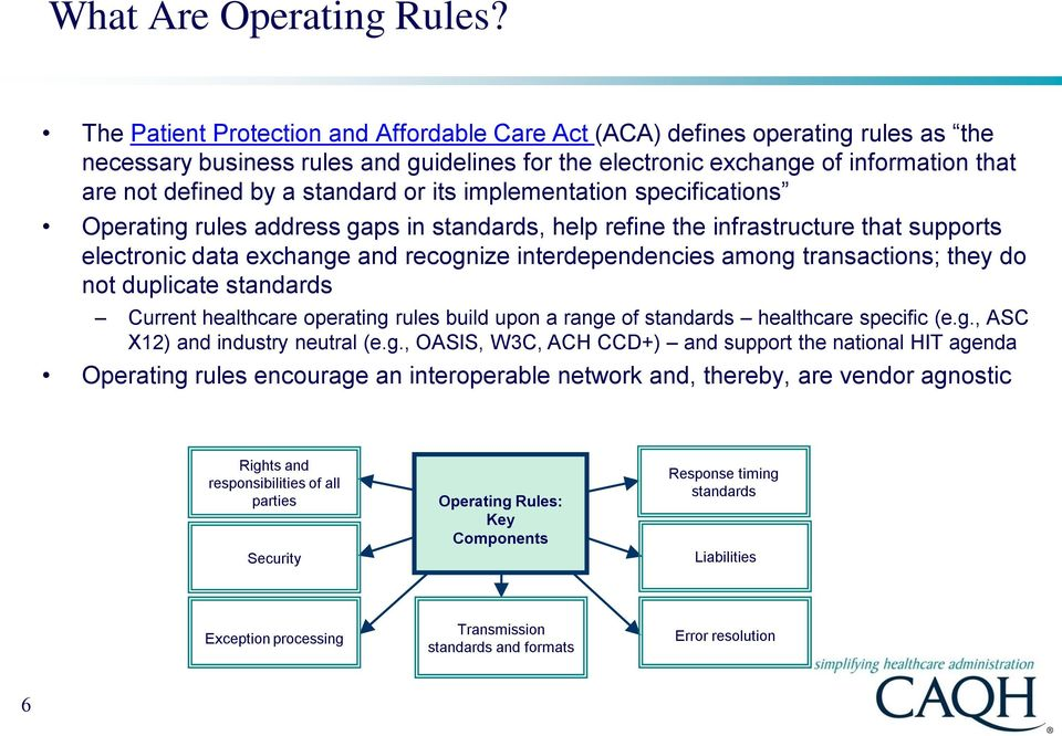 standard or its implementation specifications Operating rules address gaps in standards, help refine the infrastructure that supports electronic data exchange and recognize interdependencies among