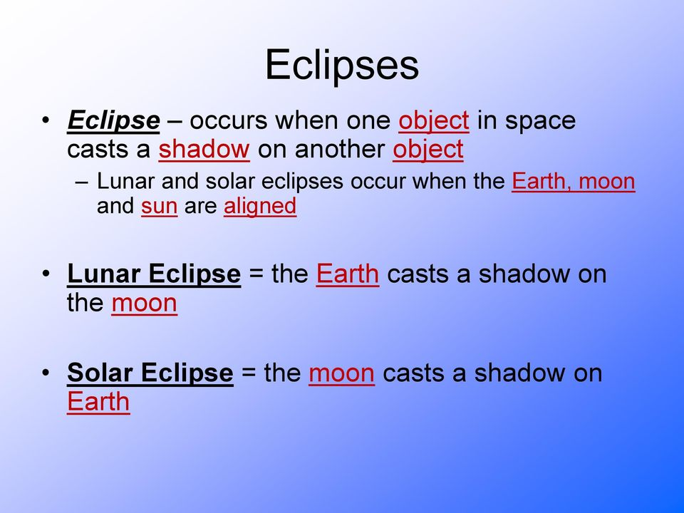 Earth, moon and sun are aligned Lunar Eclipse = the Earth casts