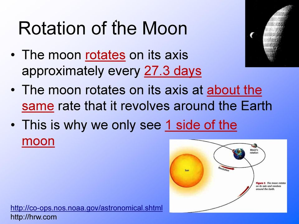 3 days The moon rotates on its axis at about the same rate that it