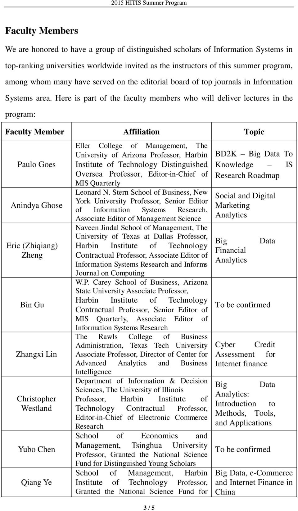 Here is part of the faculty members who will deliver lectures in the program: Faculty Member Affiliation Topic Paulo Goes Anindya Ghose Eric (Zhiqiang) Zheng Bin Gu Zhangxi Lin Christopher Westland