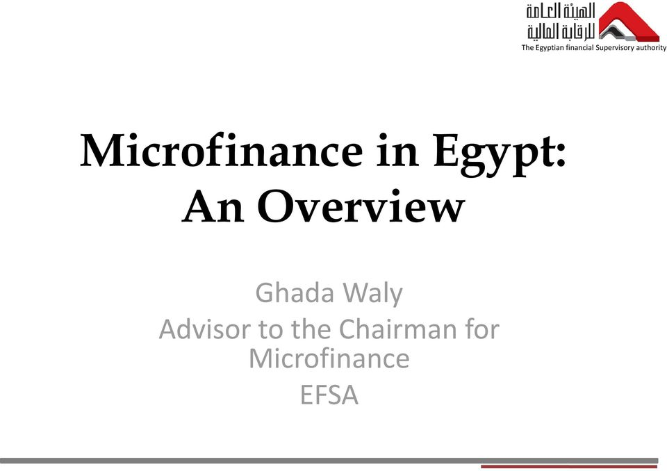 Microfinance in Egypt: An