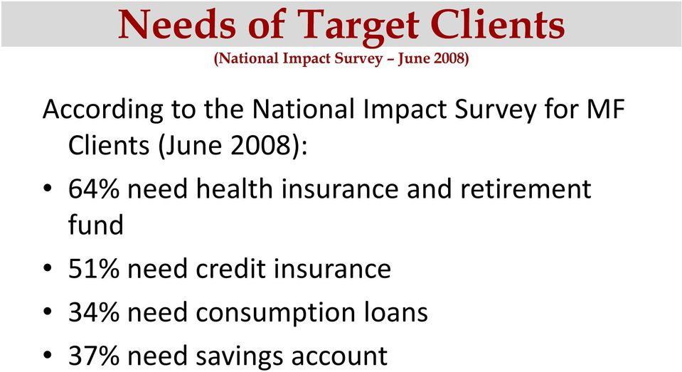 (June2008): 64% need health insurance and retirement fund 51%
