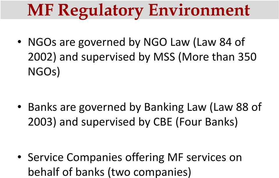 by Banking Law (Law 88 of 2003) and supervised by CBE (Four Banks)