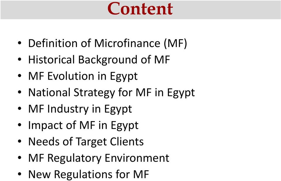 for MF in Egypt MF Industry in Egypt Impact of MF in Egypt