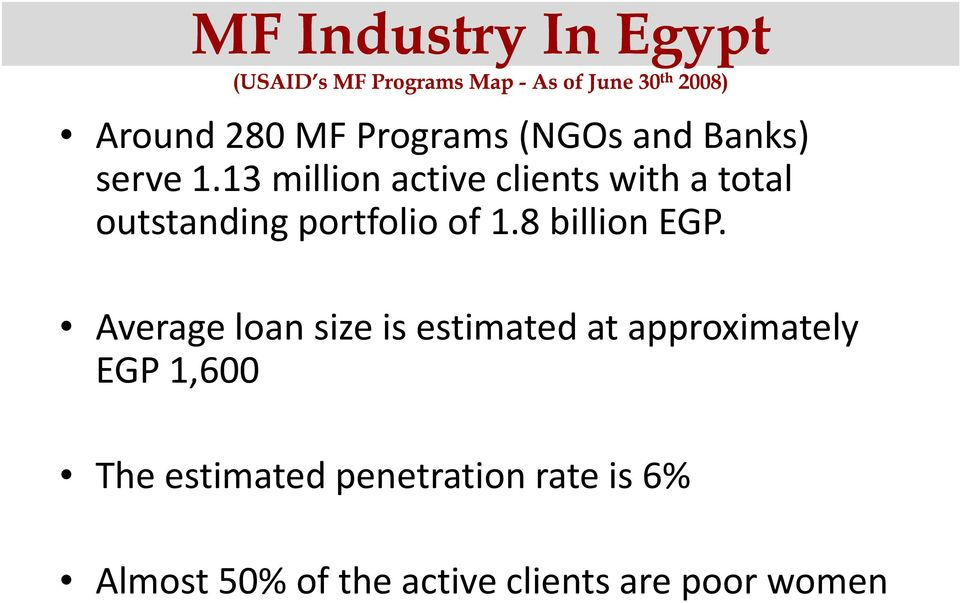 13 million active clients with a total outstanding portfolio of 1.8 bll billion EGP.