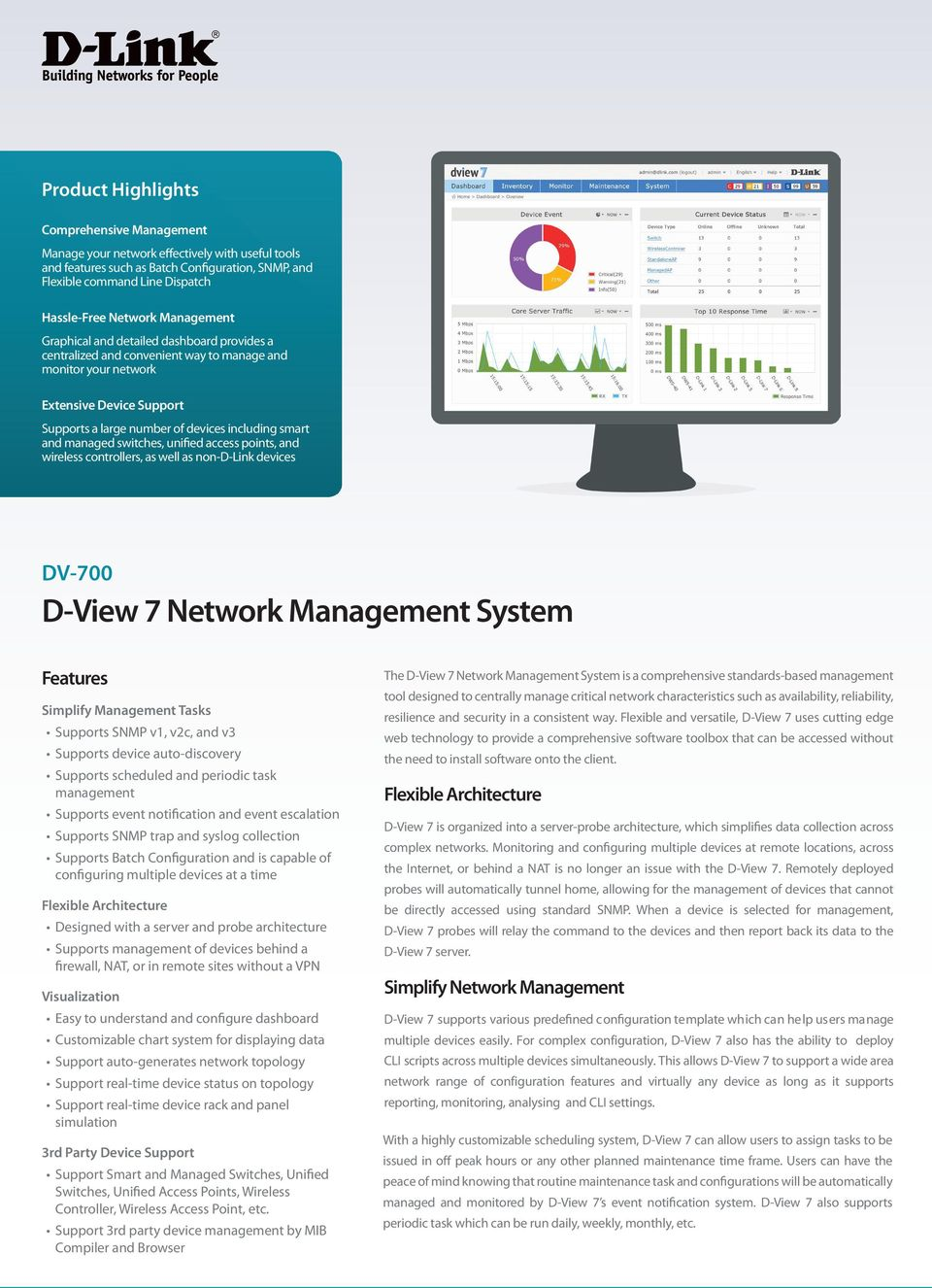 and managed switches, unified access points, and wireless controllers, as well as non-d-link devices DV-700 D-View 7 Network Management System Features Simplify Management Tasks Supports SNMP v1,